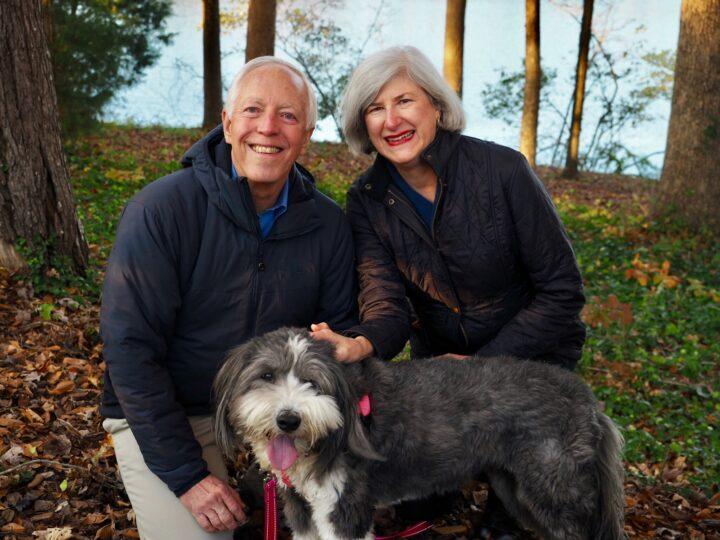 Helen and Wick with their dog Winnie back home in the USA
