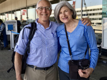 Travel tip: Helen and Wick dress in their Camino clothes to travel; at the airport in North Carolina to fly to Spain