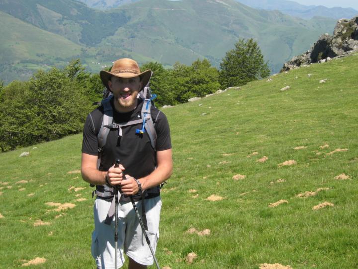 man in hiking clothes on the Camino de Santiago