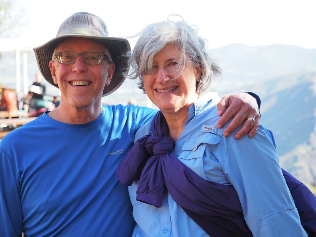 Helen and Wick in hiking clothes on the Camino