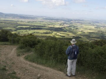 Wick standing on the Alto de Perdón looking over green fields on the Camino