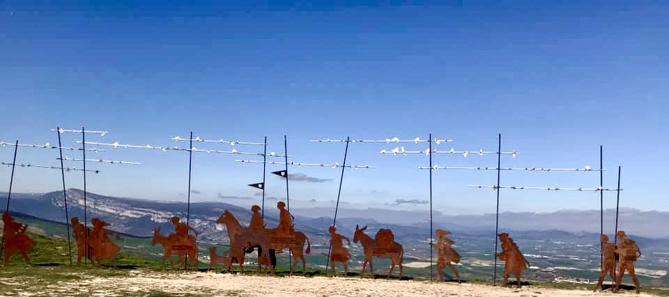 The pilgrim procession sculpture on the ridge of the Hill of Forgiveness