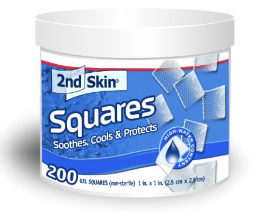 2nd Skin Gel Squares jar of 200 squares for treating blisters